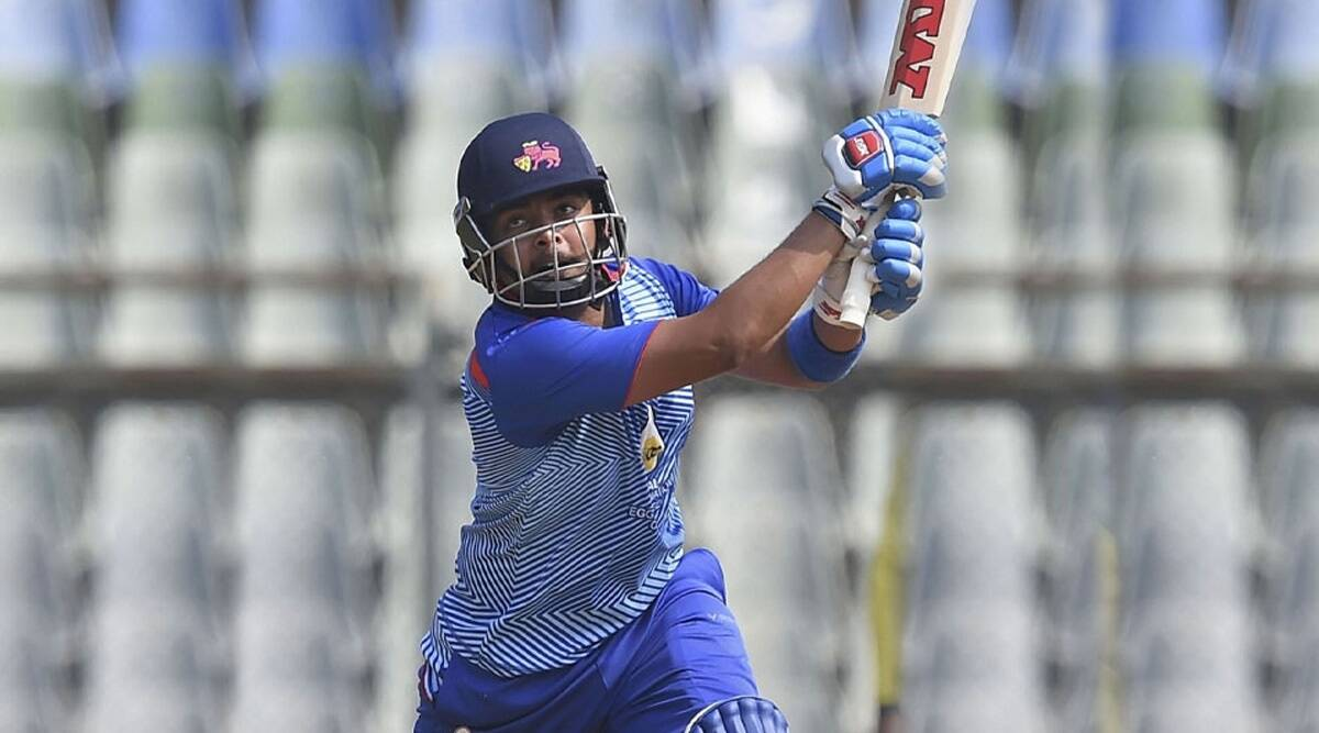 Prithvi Shaw playing a shot in the Vijay Hazare Trophy