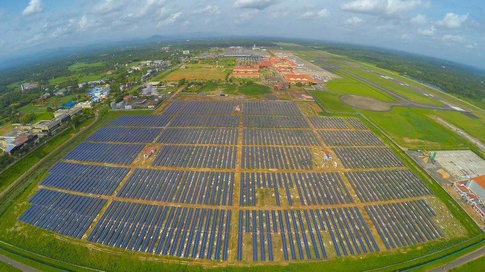 Solar panels in Cochin Airport