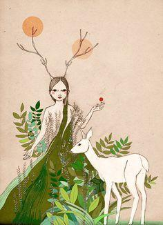 Image result for girl watered gazelle illustration