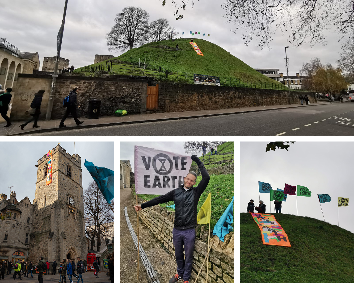 "The XRO ""Vote Earth"" banner on the Oxford Castle mound, and Carfax Tower."