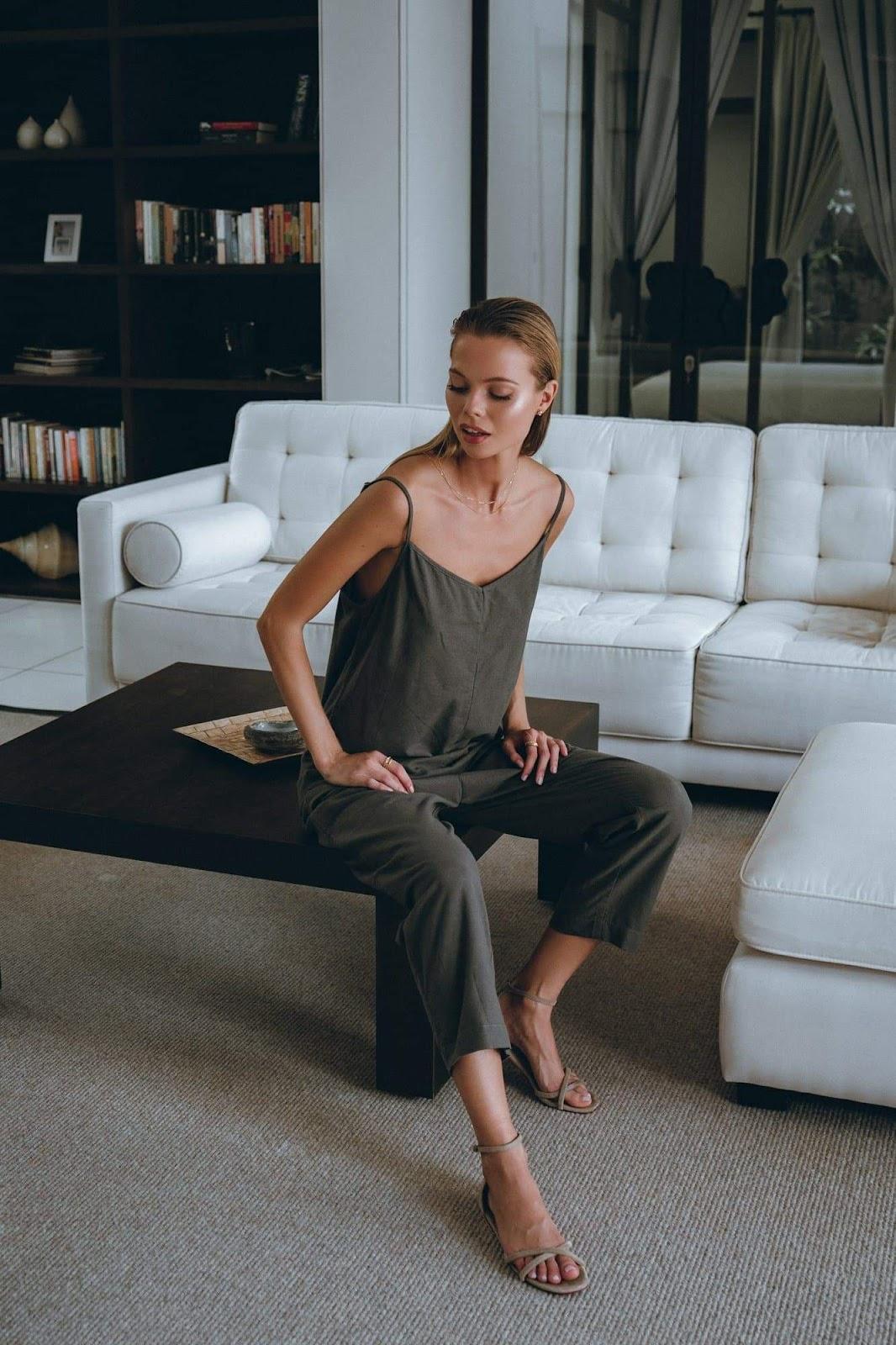 Linen Jumpsuit in Carbon