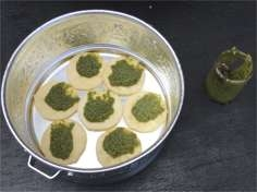 Mamakan's laksa leaf and candle nut pesto.