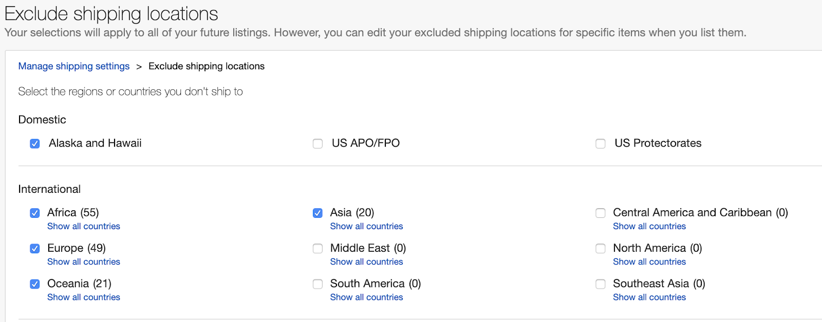 Picking non-shipping regions on eBay