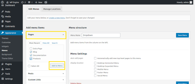 Screenshot of how to add items to your custom menu in WordPress once it's created