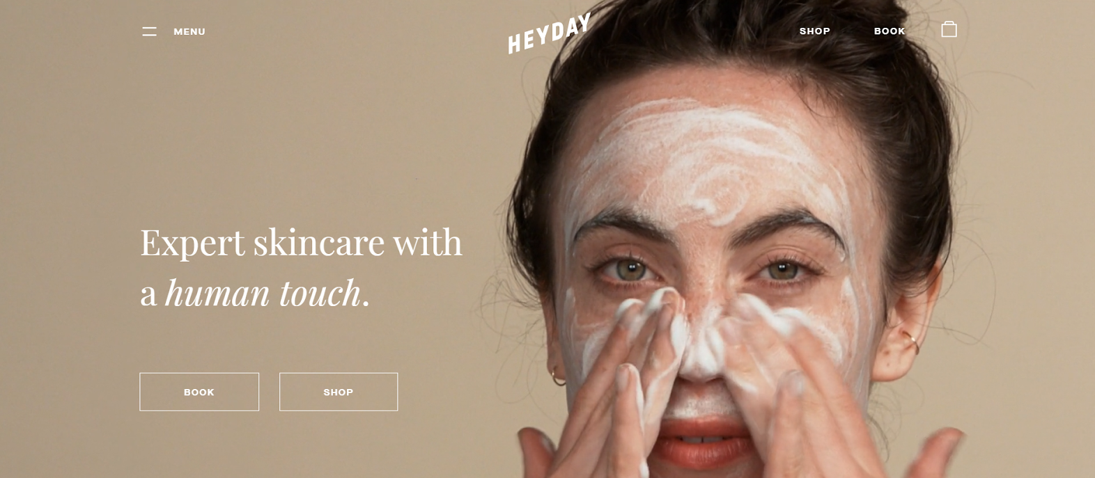 website with woman cleaning face