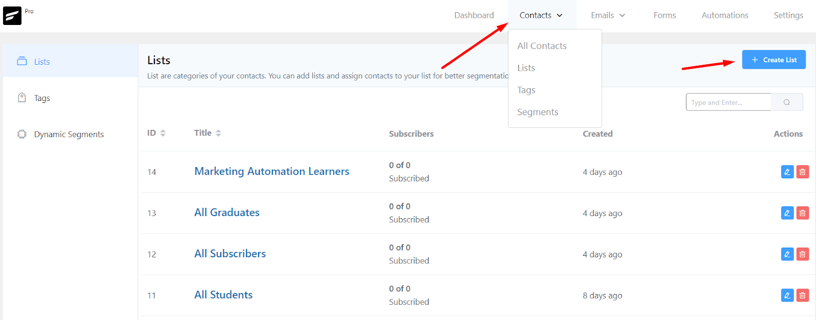 creating a contact list for learndash email marketing
