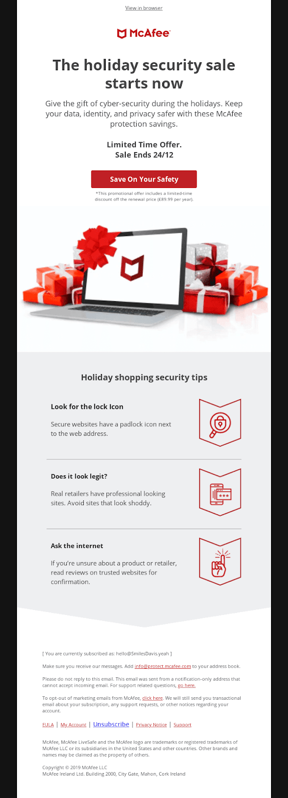 McAfee email example
