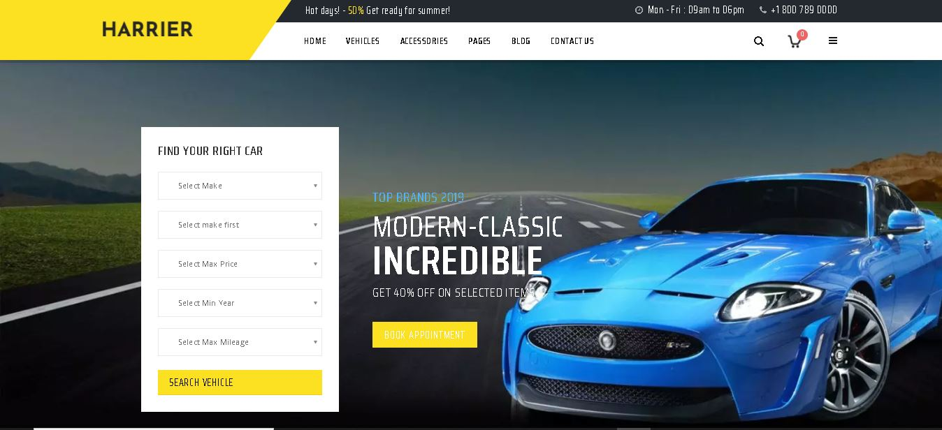 Car dealer woocommerce themes harrier
