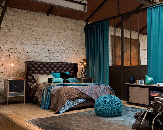 Masculine Brown and Teal Bedroom