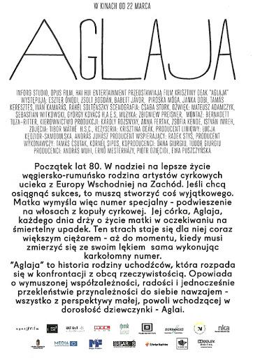 Tył ulotki filmu 'Aglaja'