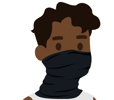 graphic of a man wearing a gaiter