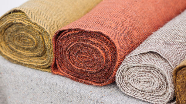 Hemp textiles dyed with different colours