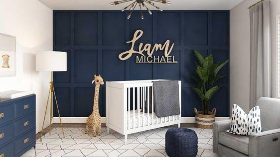 Blue and Grey Baby Boy Bedroom Ideas