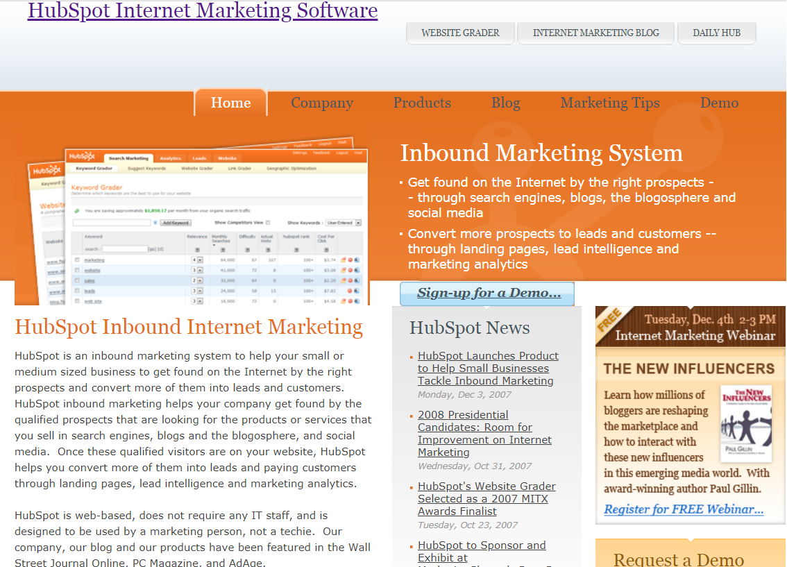 hubspot homepage after inbound marketing