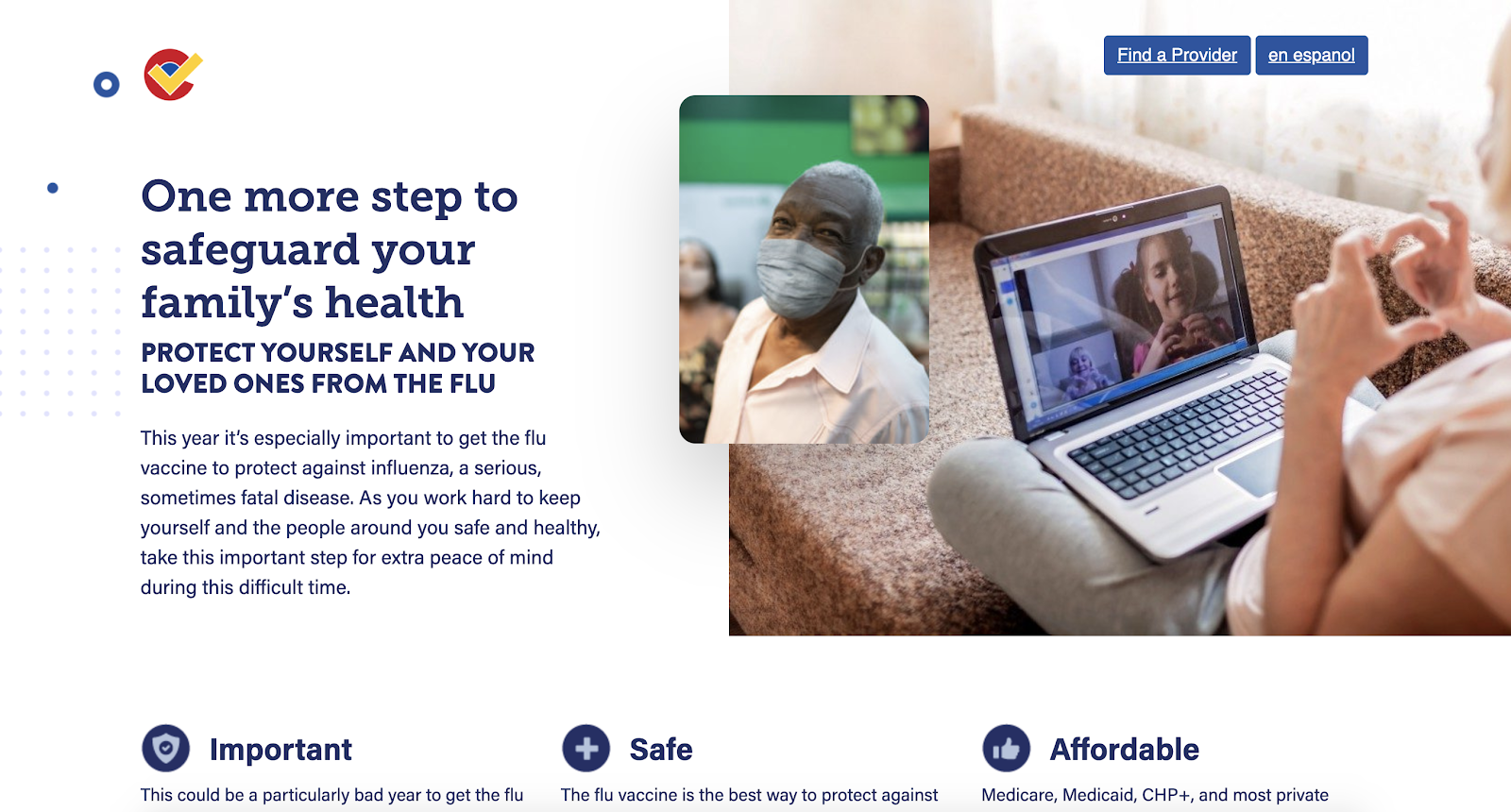 English version of the flu vaccine website