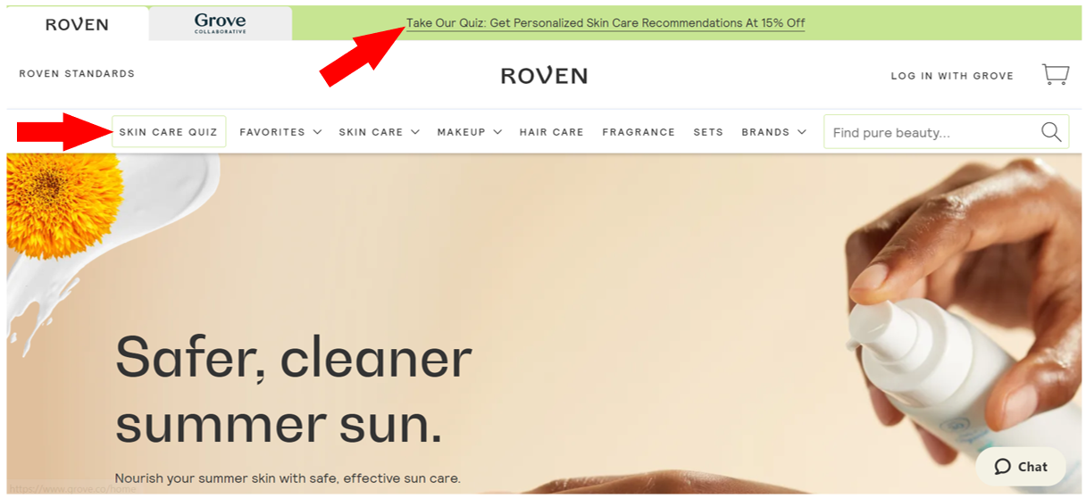 Roven website with announcement CTA Take the quiz for recommendations