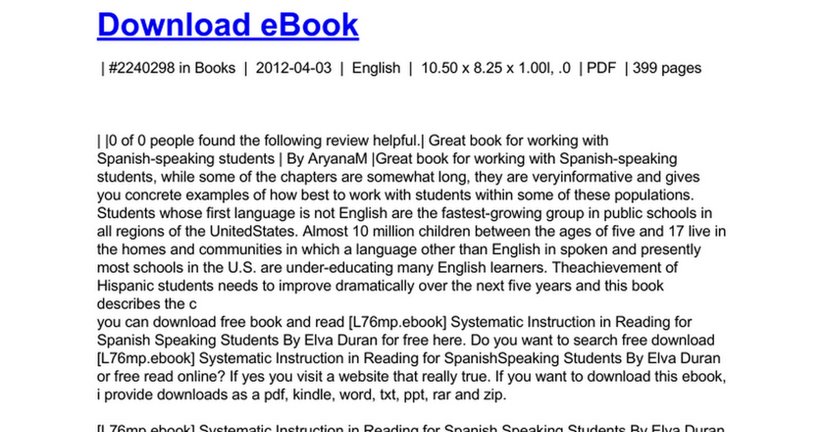 Systematic Instruction In Reading For Spanish Speaking Studentsc