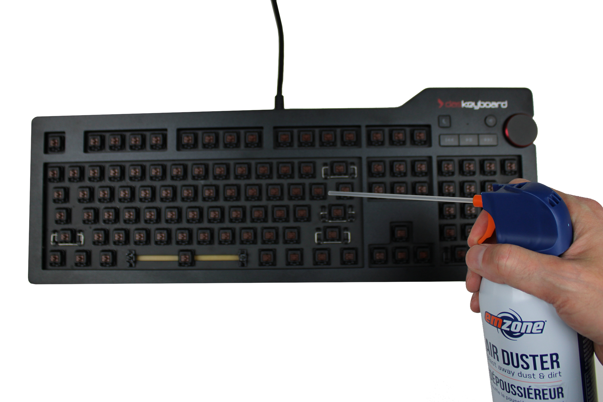 How to clean a keyboard with no keycaps