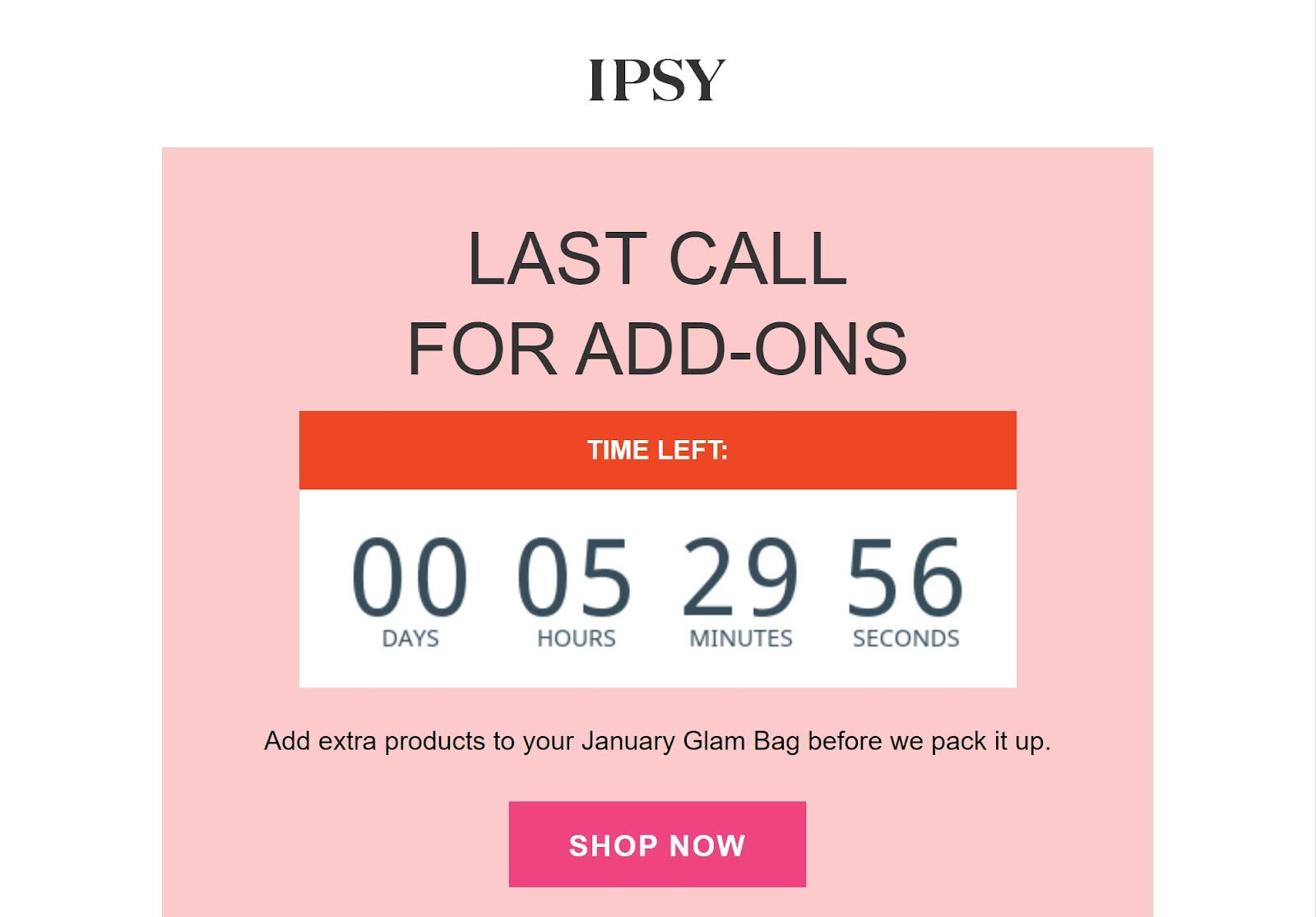 Example of a WooCommerce followup email from Ipsy