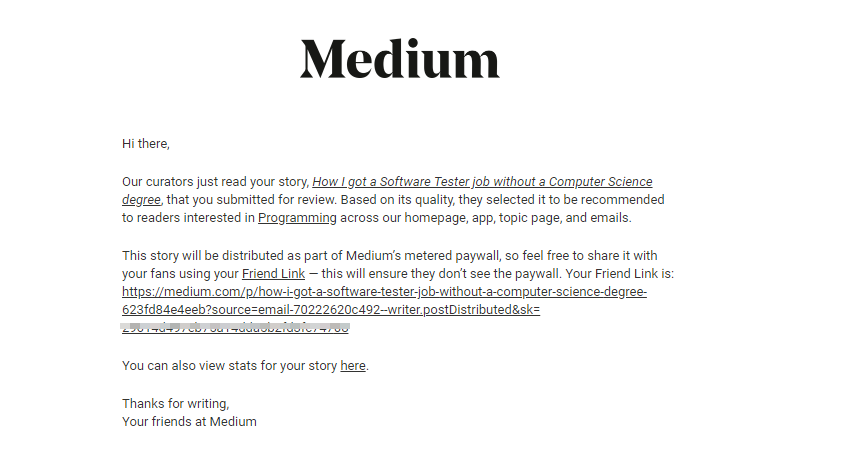 Medium curators choose my story to be distributed