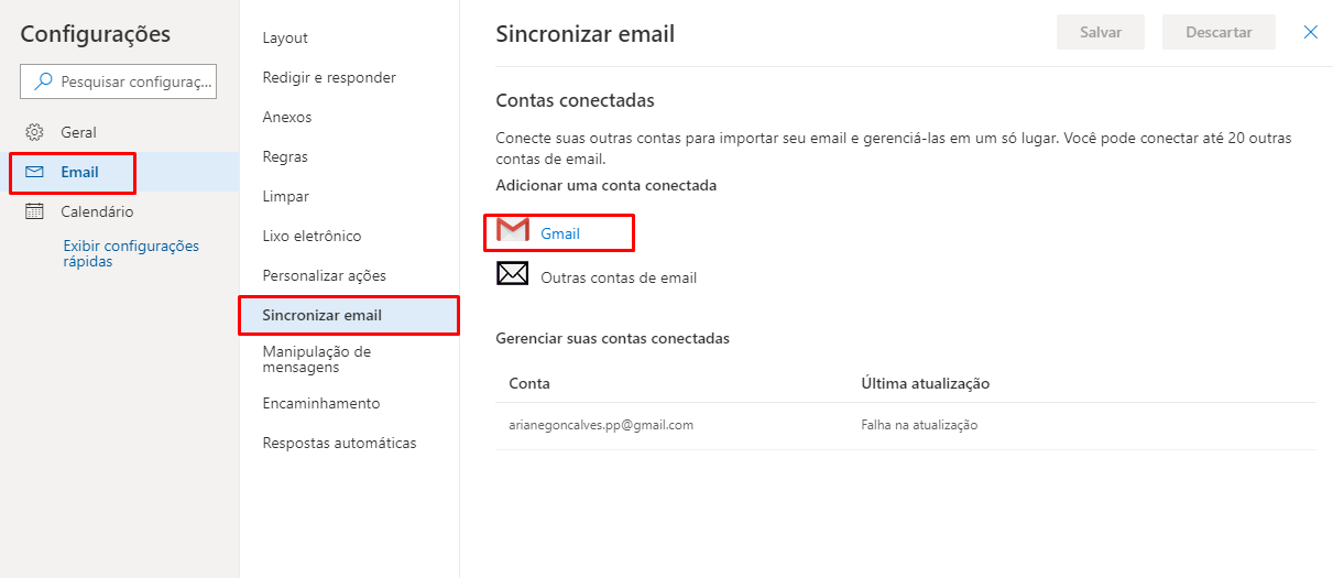 autorizar gmail para Configurar gmail no outlook