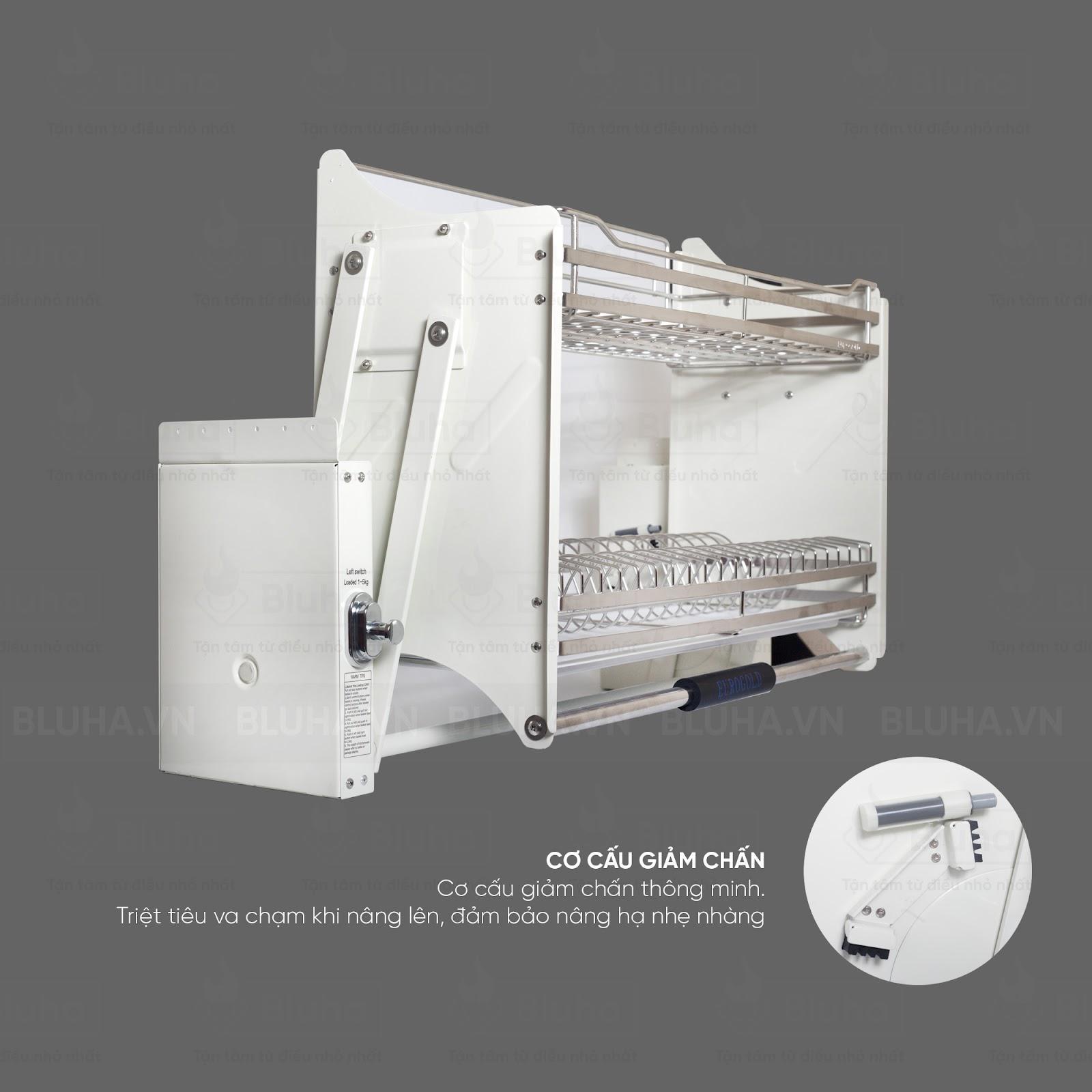 Cơ cấu giảm chấn thông minh và tiện lợi - Giá bát nâng hạ Inox EVI.180 - Phụ kiện bếp chính hãng