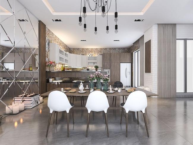 Mẫu Thiết kế nhà bếp công trình biệt thự thehousedesign