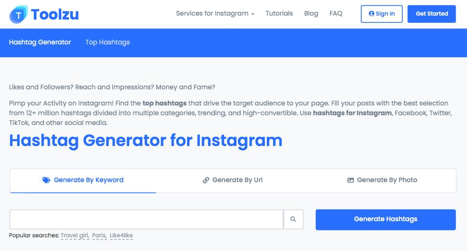 Toolzu Hashtag Generator Tool