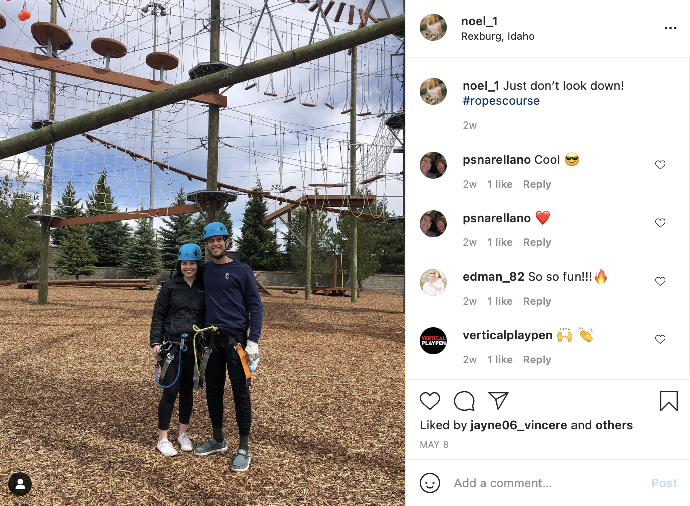 couple doing a ropes course