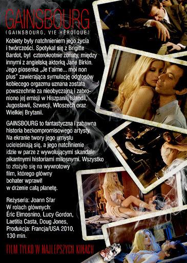 Tył ulotki filmu 'Gainsbourg'