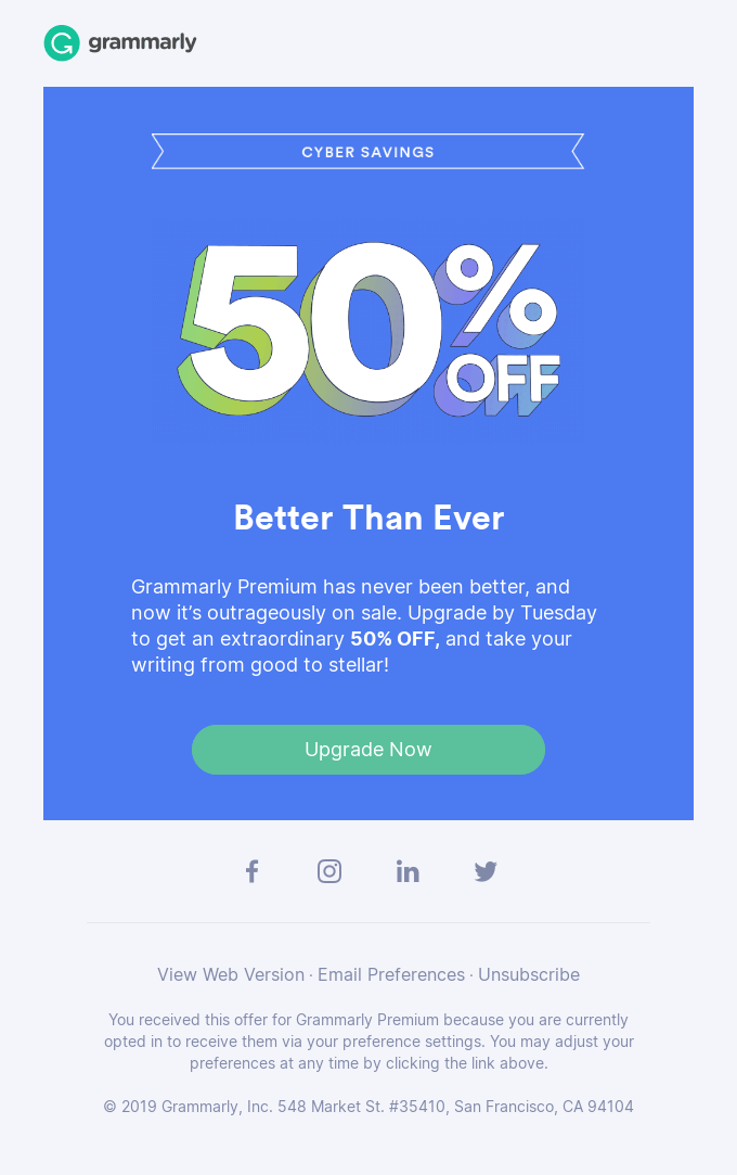 Email Blasts - Sales And Limited Time Offers Example From Grammarly