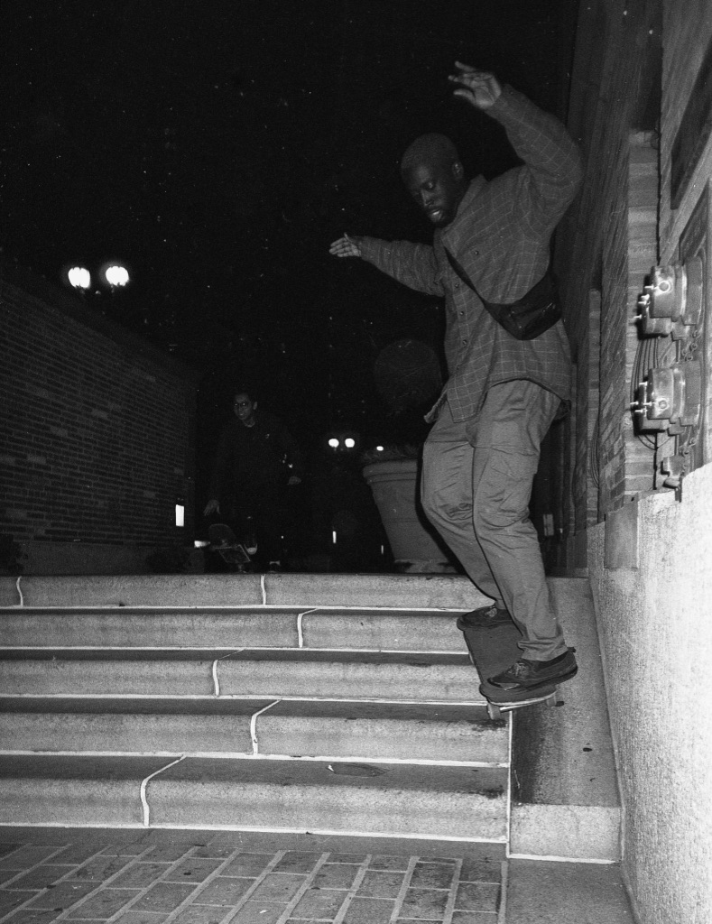 Skateboarding on the side of the stairs