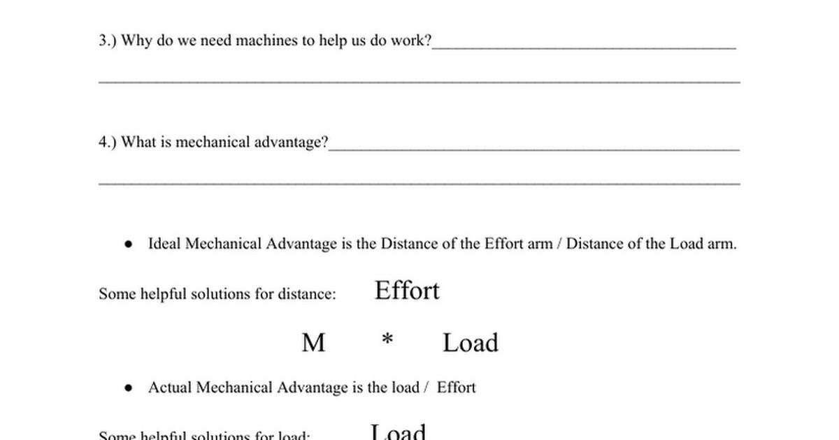 Lever Worksheet Google Docs – Mechanical Advantage Worksheet