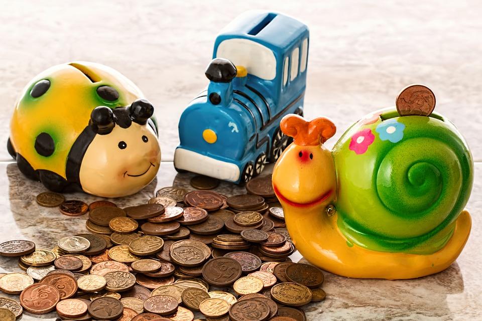 貯金箱, 貯蓄, コイン, 現金, ペニーの銀行, 古道具, セラミック, 磁器, カラフルです