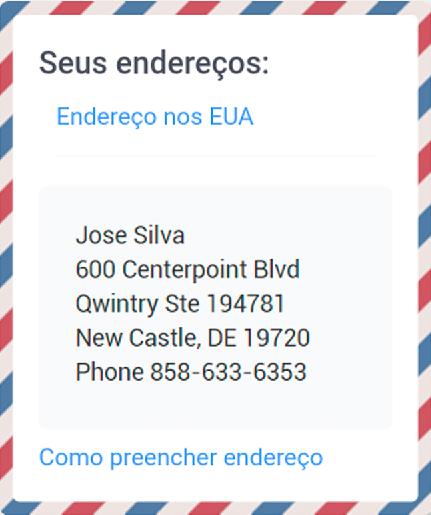 aca32f8e791 1º Passo  Registre-se em nosso site e receba gratuitamente um endereço para  compras nas lojas dos EUA