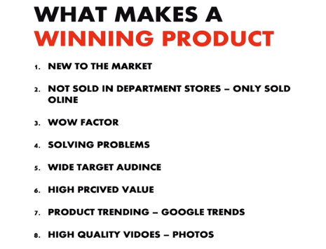 list of qualities that make an winning product ecom king