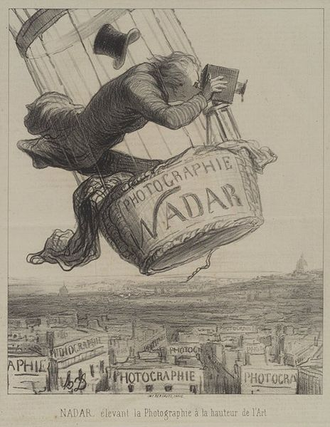 An 1862 caricature by Honoré Daumier shows the photographer Nadar taking pictures from his hot-air balloon.
