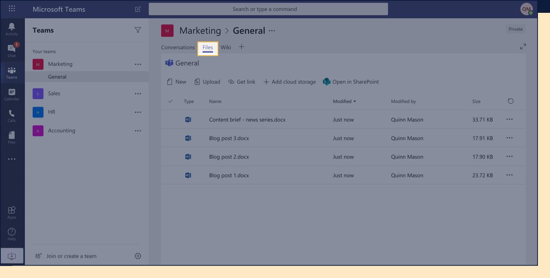 Screenshot of Files tab in Teams.