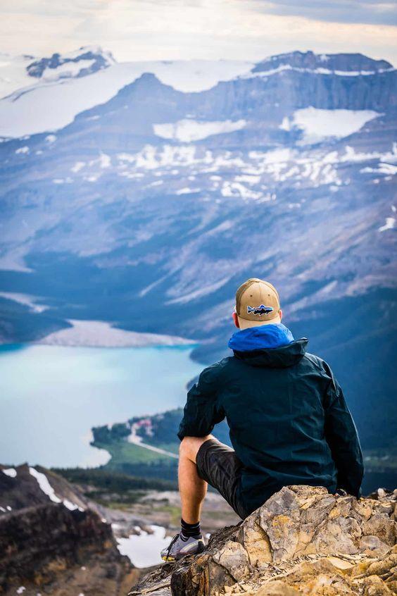 man enjoying hiking