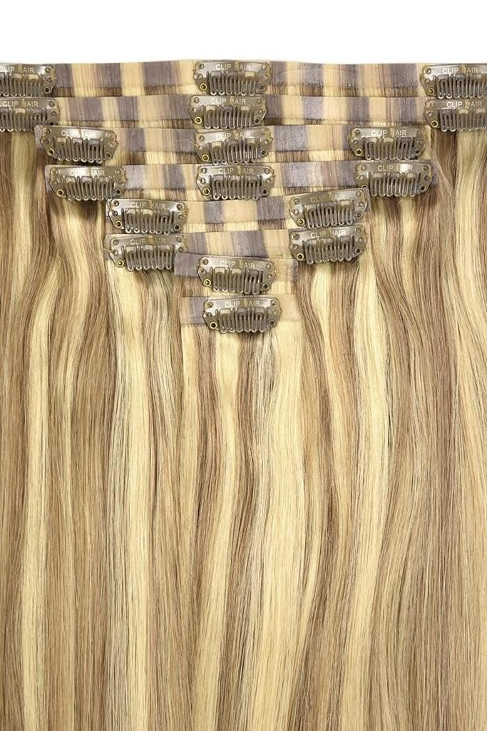 Remy Royale Seamless Clip ins - Lightest Brown/Bleach Blonde Mix (#18/613) Remy Royale Seamless Clip ins Cliphair