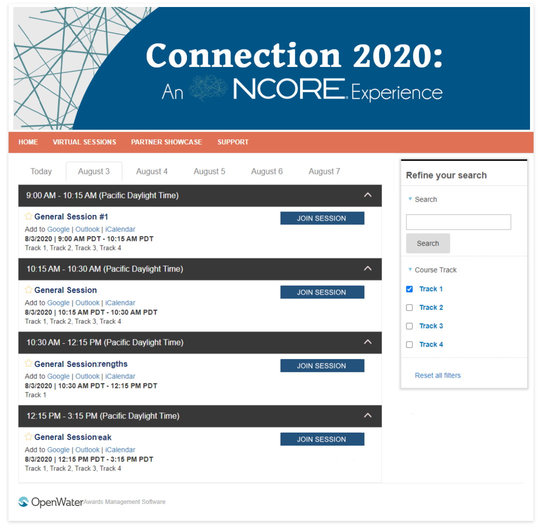 Screenshot of customized Virtual Event Registration Page