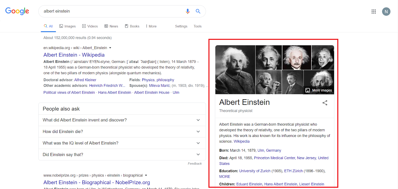 Knowledge Graph for Albert Einstein