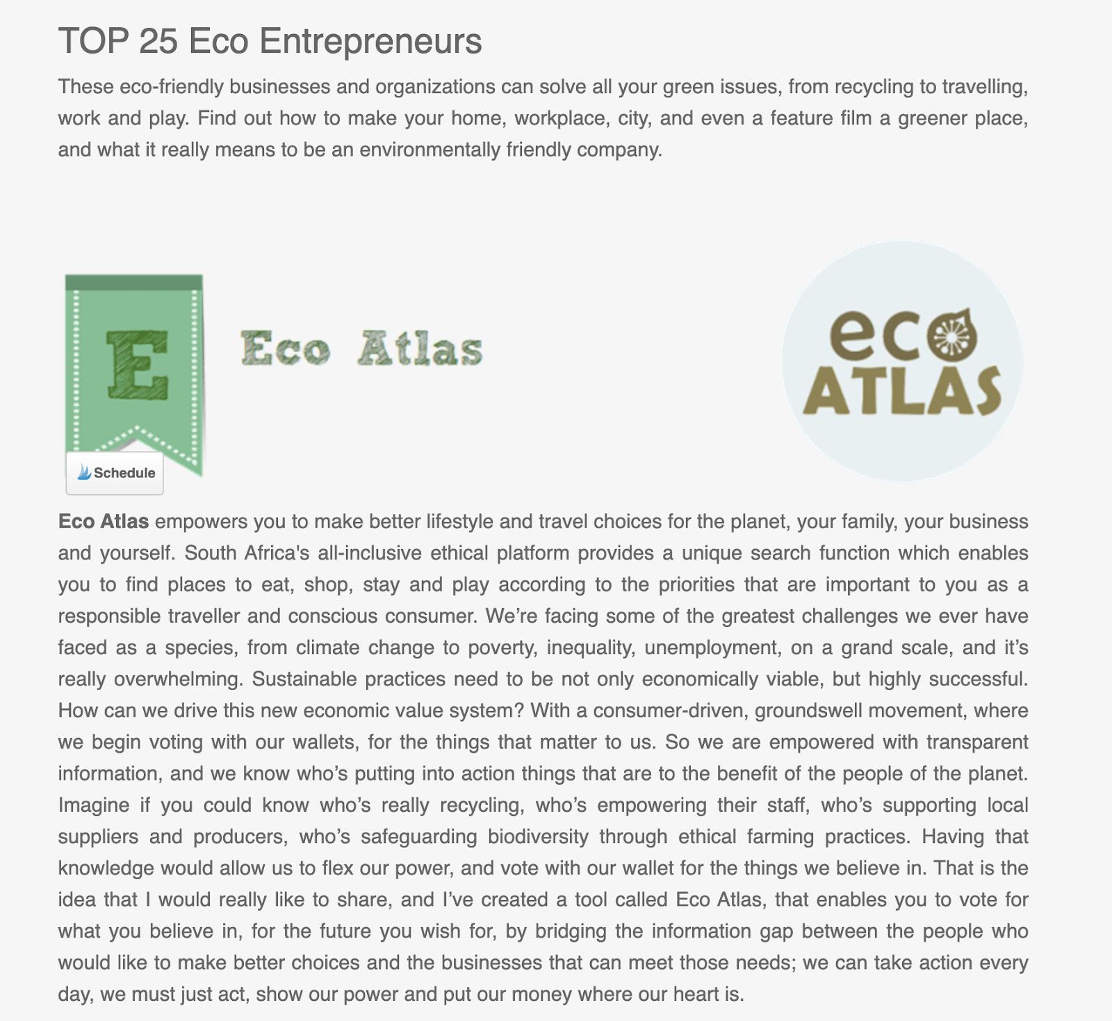 top 25 eco entrepreneurs