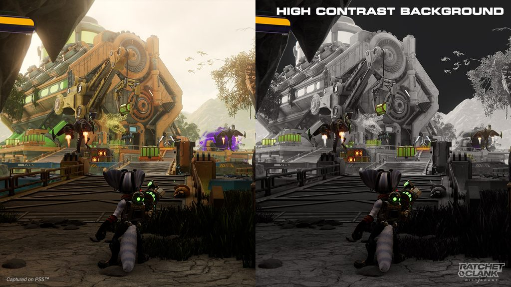 Side-by-side screenshots of Rivet exiting a cave to find an industrial platform guarded by Goons-4-Less with jetpacks. The left side is in full color. The right has High Contrast Background on, making the background grayscale while Rivet, the enemies, and various crates are in color.