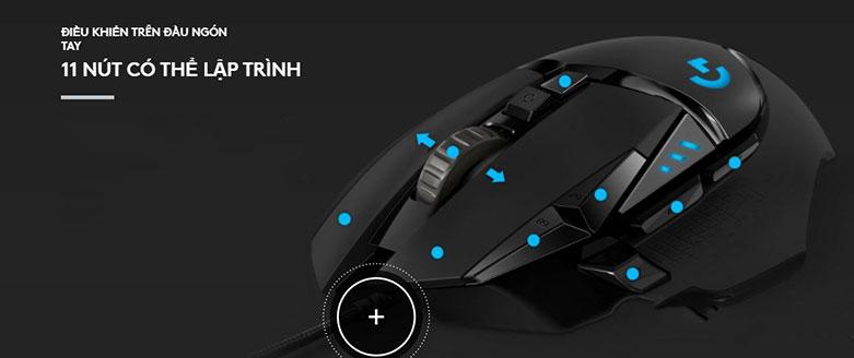 Chuột gaming Logitech G502 Hero K/DA | 11 Nút có thể lâppj trình