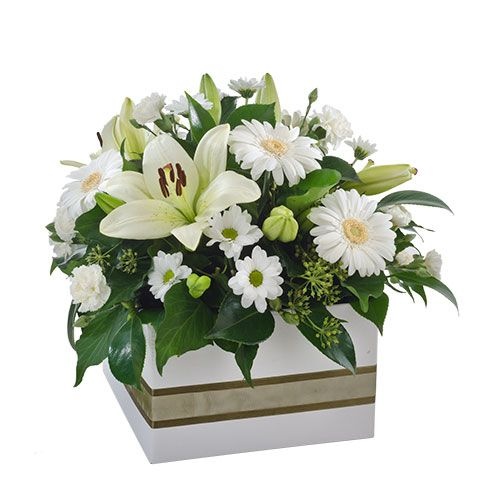 Express Sympathy With White Lilies and Gerberas