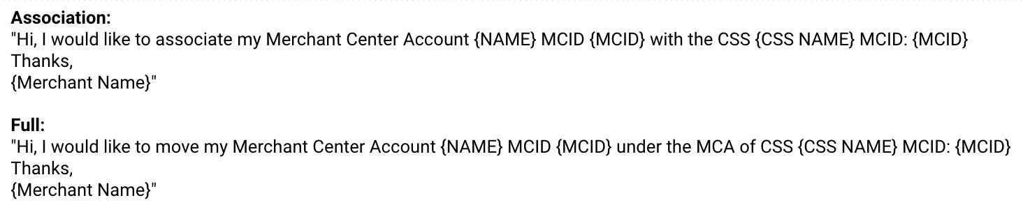 Anfrage bei Google Shopping Europ um Merchant Center Account mit CSS zu verknüpfen