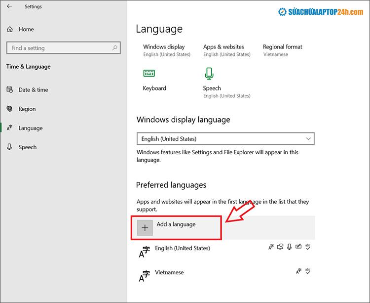 Chọn Add a language