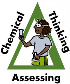 ACCT logo w/ triangle of text:  Assessing Chemical Thinking around a student in goggles holding a test tube and flask