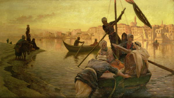 Image - In Cairo: The Ferry From The Island of Gazirie on the Nile or Boulach the Port of Cairo (oil on canvas), Farquharson, Joseph (1846-1935) / Scottish, Private Collection, Photo © Christie's Images / Bridgeman Images
